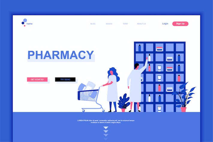 Thumbnail for Pharmacy Flat Landing Page Template