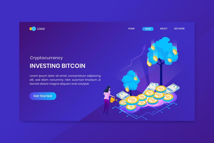 Cover Image For Investing Bitcoin Cryptocurrency Landing Page