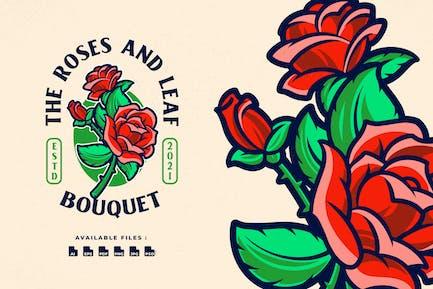 Rose Bouquet Cartoon Logo