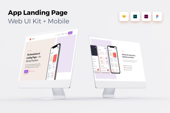 Thumbnail for iOS App Landing Page - Web UI Kit + Mobile - 2