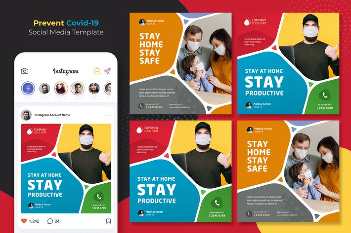 Thumbnail for Prevent Coronavirus instagram Template