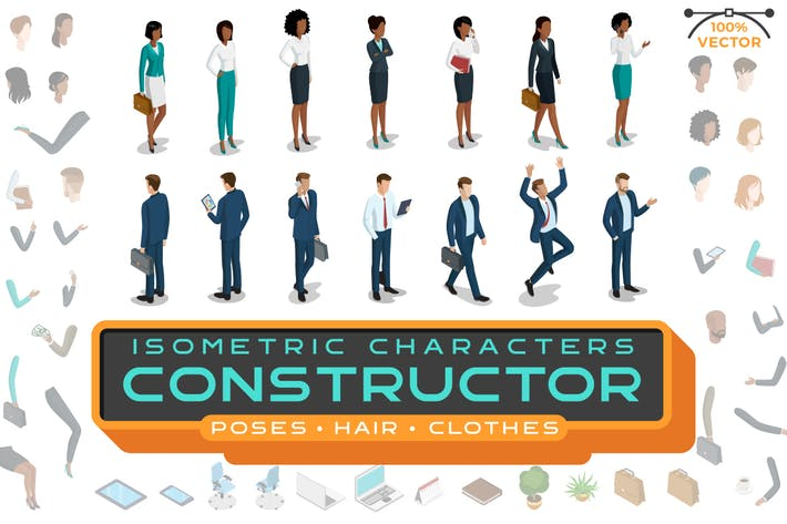 Thumbnail for Isometric Characters Constructor Kit