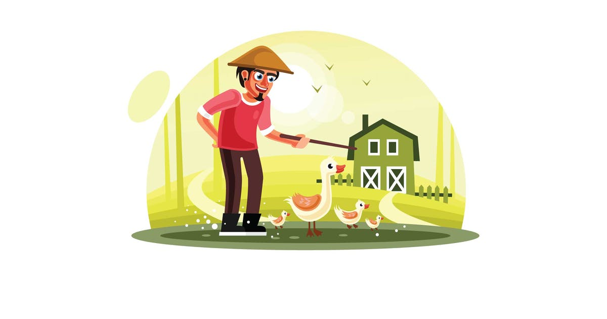 Farmer and Ducks in Farm by IanMikraz