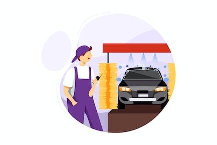 Mechanic on automatic car wash