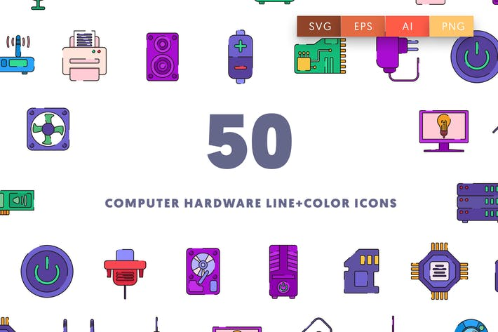 Thumbnail for Computer Hardware Line & Color Icons