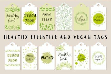 Gesunder Lebensstil und vegane Tags