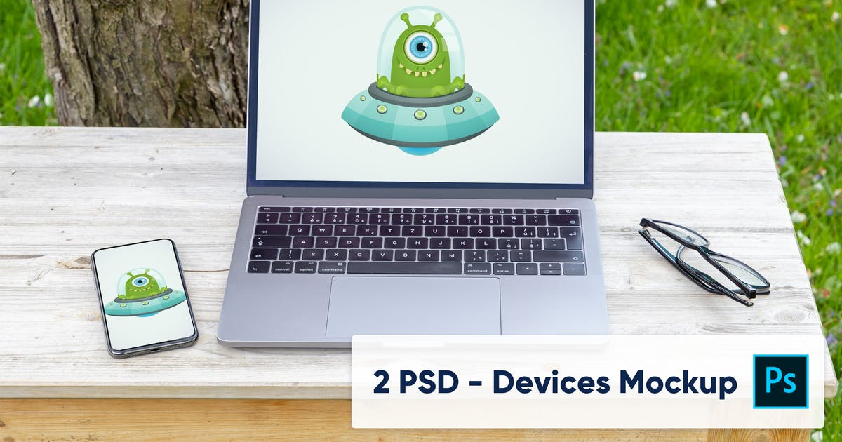 Download Laptop and Phone in the Garden - 2 PSD Mockups by maroskadlec