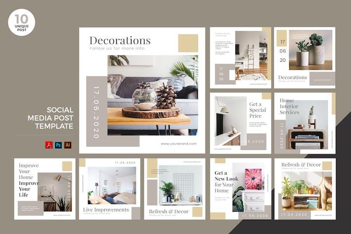 Cover Image For Interior Design Social Media Kit PSD & AI