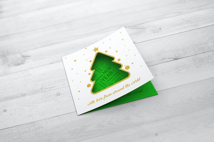 Christmas New Year Card Mock-Up by StreetD on Envato Elements