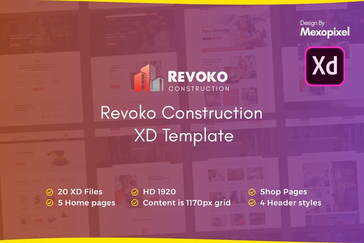 Thumbnail for Revoko - Construction Website in Adobe XD Template