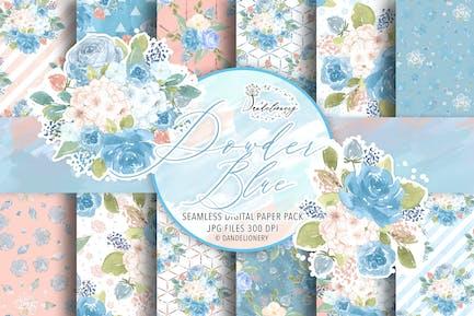 Watercolor Powder Blue digital paper pack