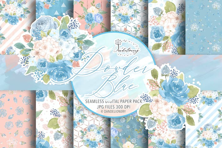 Thumbnail for Watercolor Powder Blue digital paper pack