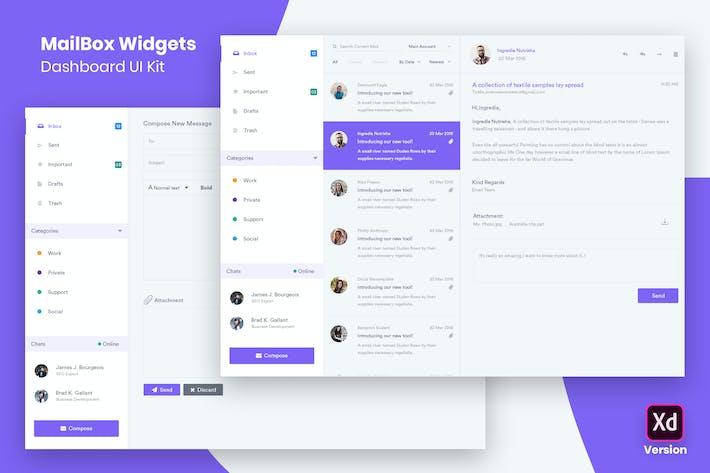 Thumbnail for MailBox Widgets Dashboard UI Kit (XD)