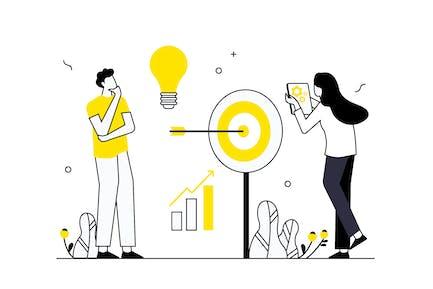 Business Goal & Target Vector Illustration