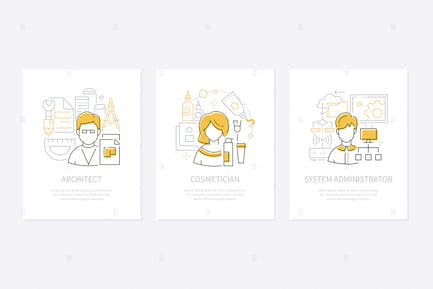 Different professions - line design style banners