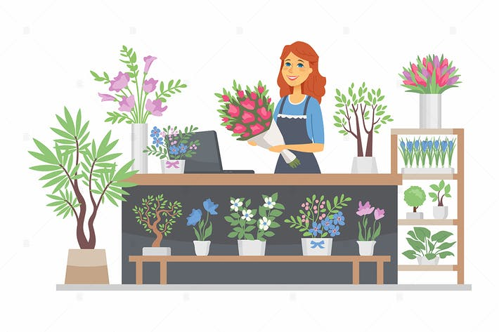Thumbnail for Flower shop - cartoon character illustration