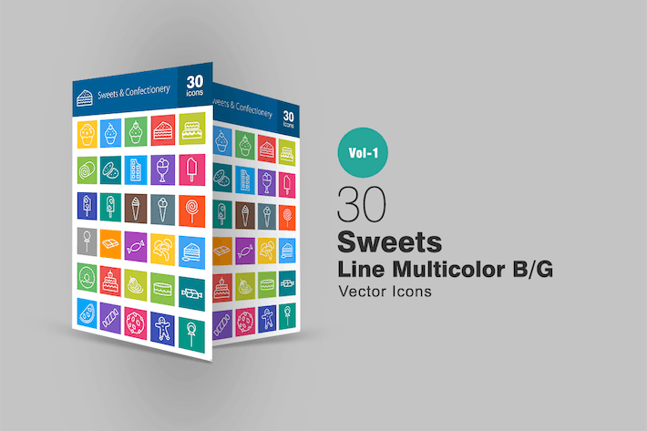 Thumbnail for 30 Sweets & Confectionery Line Multicolor Icons