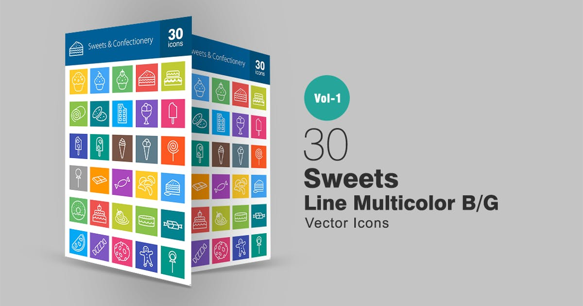 Download 30 Sweets & Confectionery Line Multicolor Icons by IconBunny