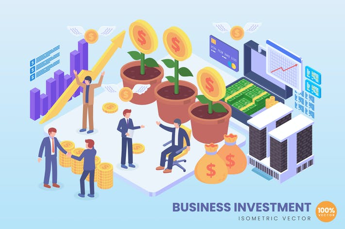 Thumbnail for Isometric Business Investment Vector Concept