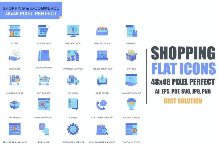 Thumbnail for Simple Set Shopping and E-Commerce Flat Icons