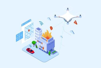 Drohnen Suche und Rettung Isometrische - T2