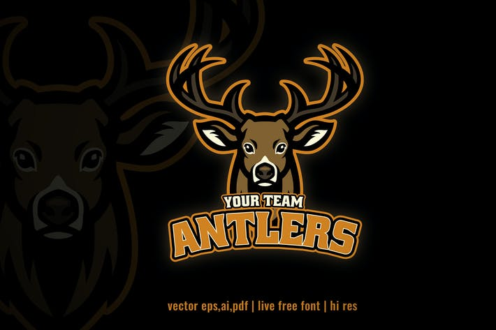 Thumbnail for deer antler mascot sport and e-sport logo