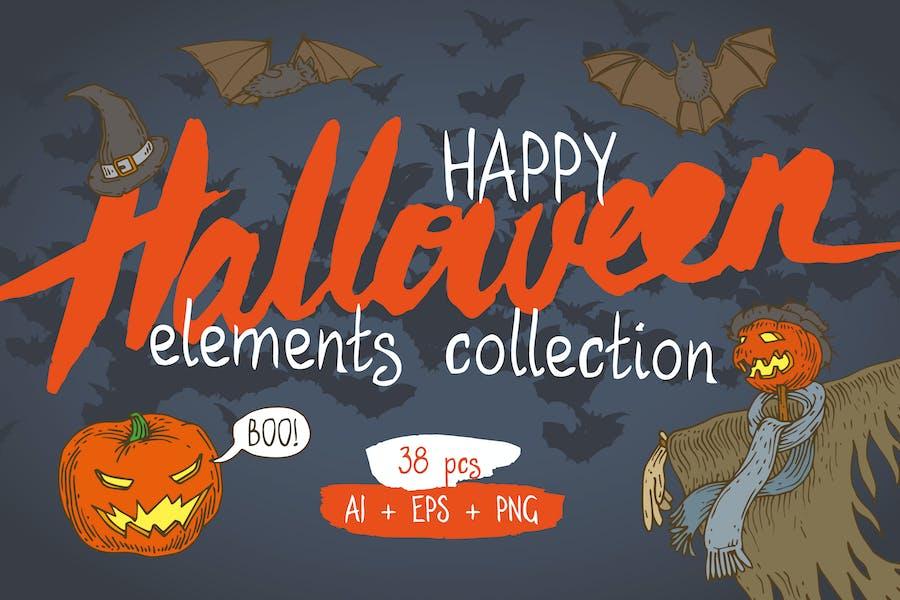 Счастливая Коллекция элементов Хэллоуина
