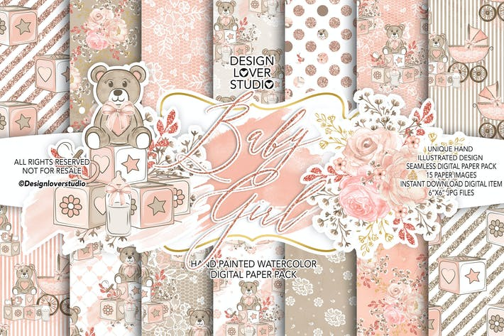 Thumbnail for Baby Girl digital paper pack II.