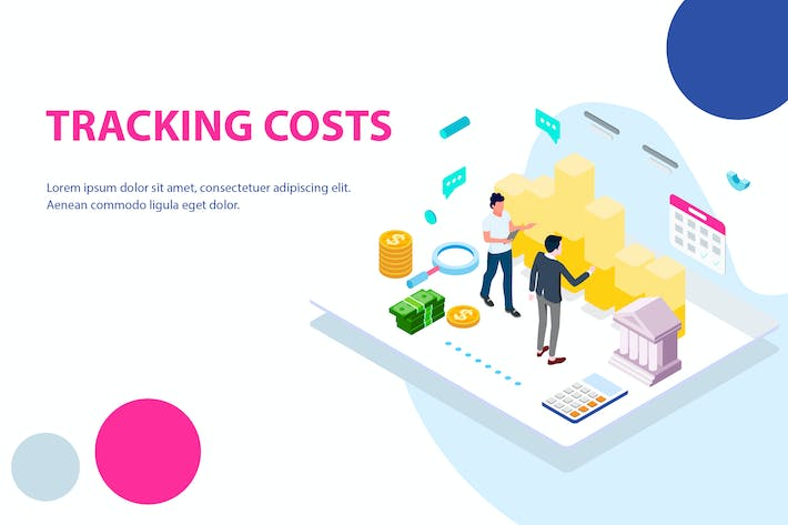 Thumbnail for Tracking Costs Isometric Illustration - FV