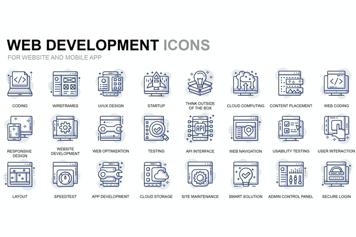 Thumbnail for Web Development Thin Line Icons
