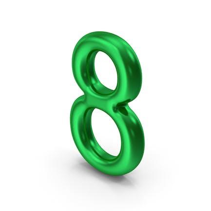 Número 8 verde metalizado