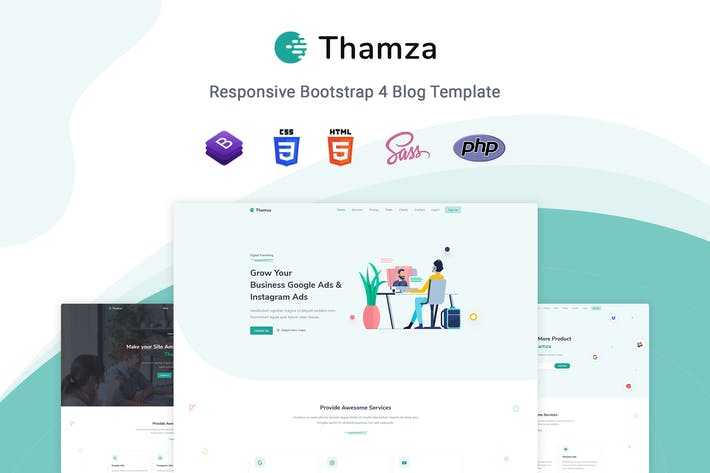 Thumbnail for Thamza - Responsive Landing Page Template