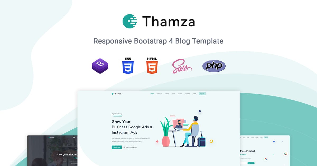 Download Thamza - Responsive Landing Page Template by themesdesign