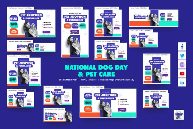National Dog Day and Pet Care Social Media Pack
