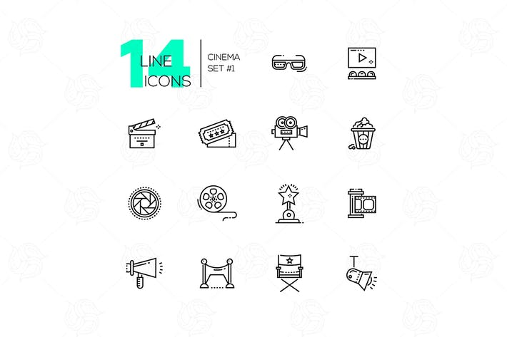 Thumbnail for Cinema and movie line icons set