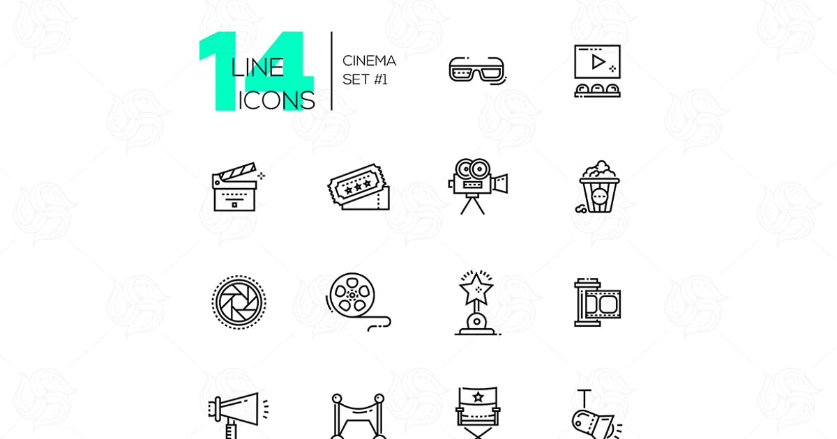 Download Cinema and movie line icons set by BoykoPictures