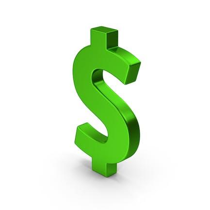 Symbol Dollar Grün Metallisch