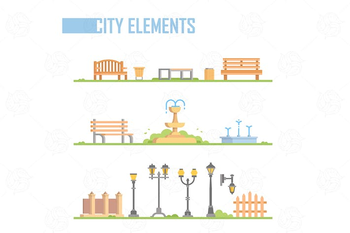 Thumbnail for Set of city elements - modern vector illustration