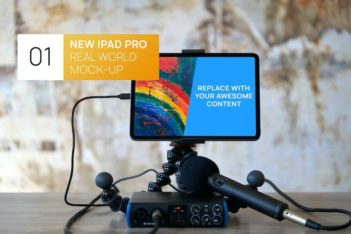 Thumbnail for New iPad Pro 11 with Recorder World Mock-up