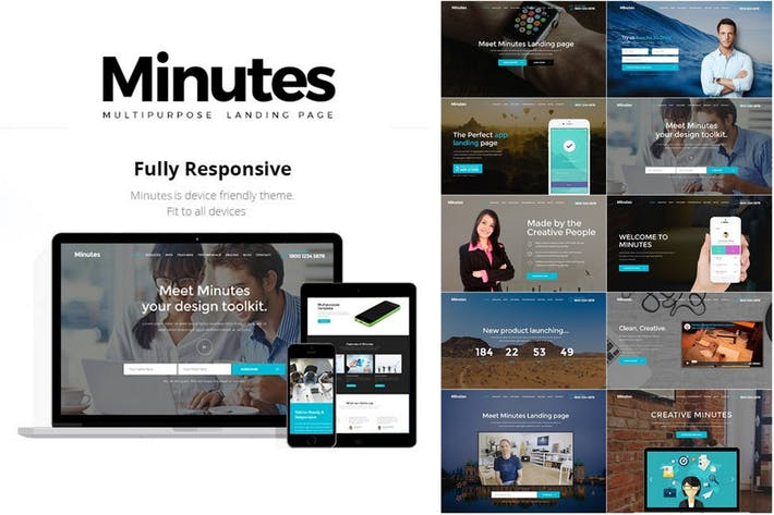 Thumbnail for Minutes - Responsive Bootstrap Landing Page