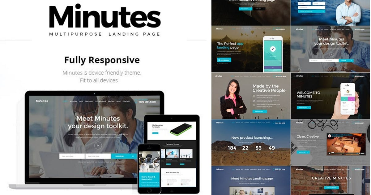 Minutes - Responsive Bootstrap Landing Page by Theme-Express