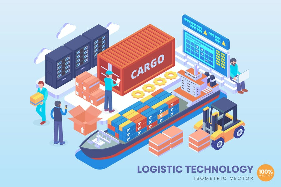 Isometric Logistic Technology Vector Concept