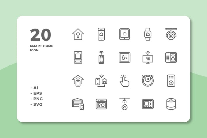 Thumbnail for 20 Smart Home Icons (Line)