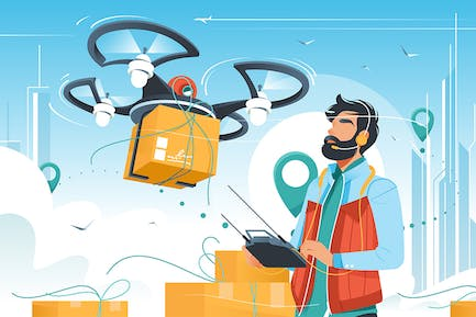 Man with Beard Controls Drone Delivery