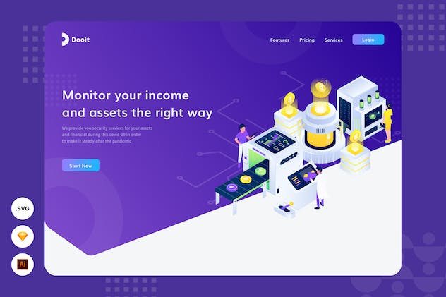 Save your income - Website Haader -  Illustration