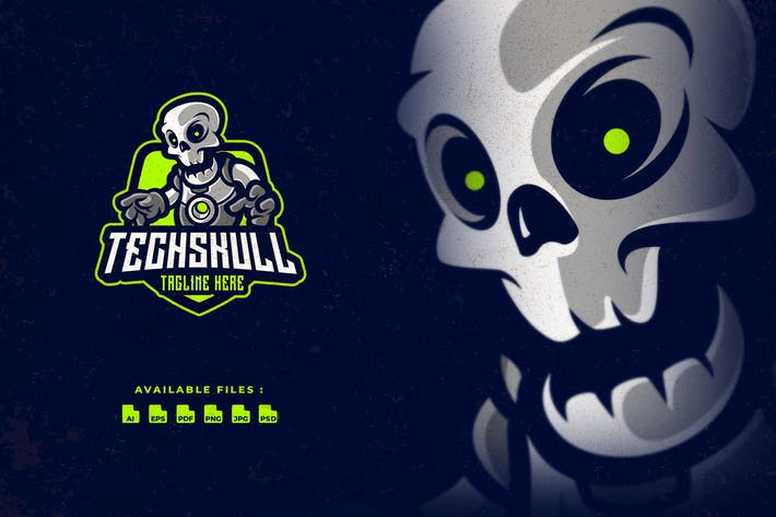 Thumbnail for Techno Skull Cartoon Logo