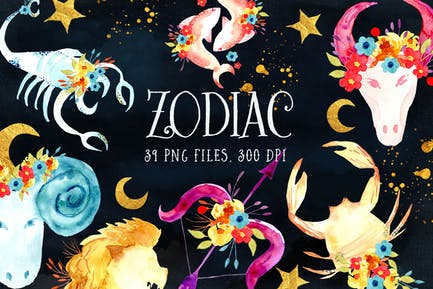 Watercolor Zodiac