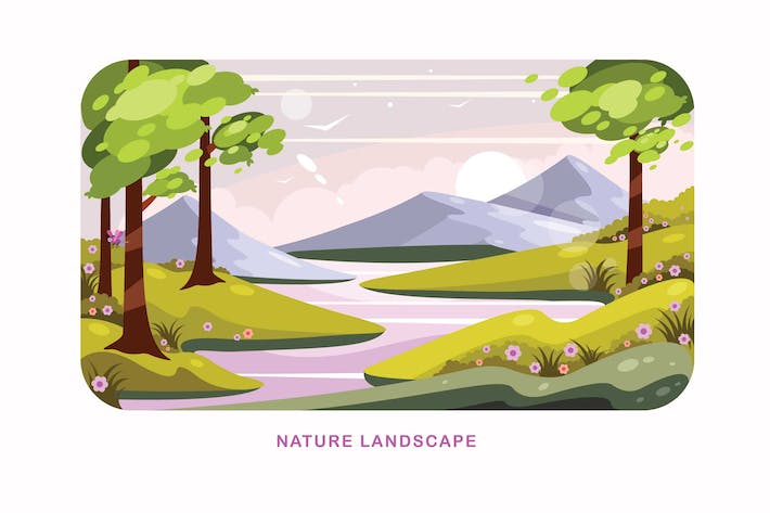 Thumbnail for Nature Landscape Vector Illustration