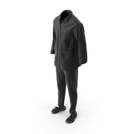Мужская рубашка сандалии брюки черный