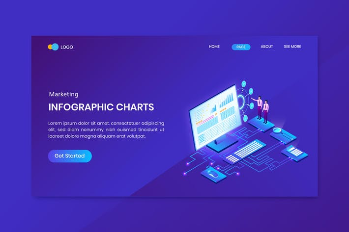 Thumbnail for Marketing & Finance Isometric Concept Landing Page